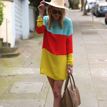 Color Block Long Sleeve Casual Mini Dress