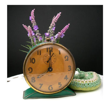 Vintage Art Deco Alarm Clock, Made in USA, Chippy Green Wind-up by REX, Not Working - For Display