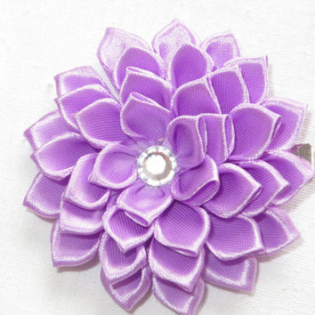 "Lavender Hair Clip 3"". Hair Flower. Satin  Hair Flower. Ribbon Flower. Lavender Flower Clip. Kanzashi  Flower."