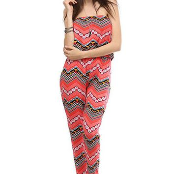 Sexy Multi-Printed Strapless Tube Top Slim Full Length Long Jumpsuit Romper