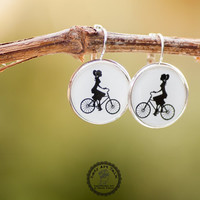Lady on Bike Earrings, Bicycle Earrings, Picture Earrings, Picture Jewelry, Image Jewelry, Bike Earrings, Black and White, Bike Jewelry