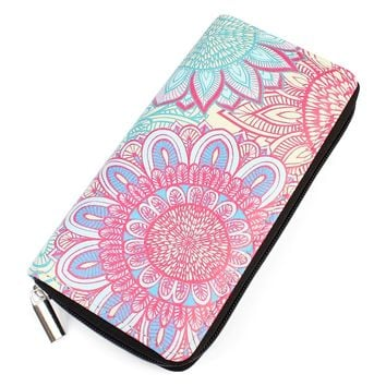 Flower Ornament Zipper Wallet