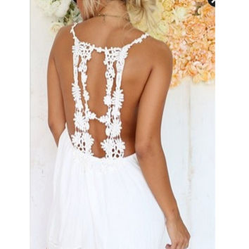 Summer Round-neck Sexy Lace Spaghetti Strap Backless Hollow Out One Piece Dress [6046493505]