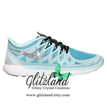 Blinged Blue Women's Nike Free 5.0 2014 by Glitzland on Etsy