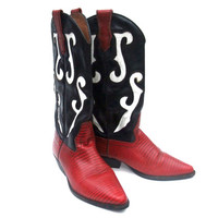 Vintage 80s Cowboy Boots Womens Knee High Pointy Toe Boots Black Red White Leather Pull On Strap Reptile Texture Nine West size 7 1/2 M