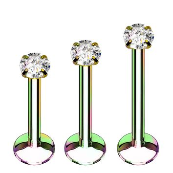 BodyJ4You 3PC Labret Stud Tragus Earring Set 16G Rainbow Surgical Steel Helix Monroe Cartilage Jewelry