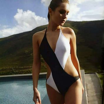 Black And White Cross One Piece Bikini Swimsuit 10746
