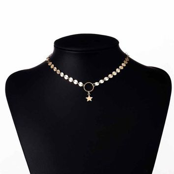 Gold Star Choker Necklace Delicate Trendy Necklace women Gold coin necklace Gift