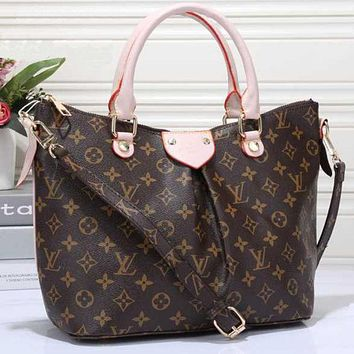 LV Women Shopping Leather Tote Crossbody Satchel Shoulder Bag Pink
