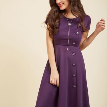 At-Home Entertainer A-Line Dress in Grape | Mod Retro Vintage Dresses | ModCloth.com