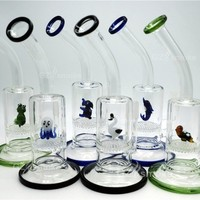 Two Functions heady Glass water pipes Cute Animal Funny Green Turtle Colorful bong Eagle Fish Frog Honeycomb dab oil rig bongs dab rig