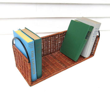 Vintage Wicker Shelf / Desk Top Organizer, Wicker Book Rack, Tabletop Bookshelf, Wrought Iron Basket - As Is