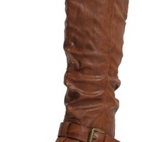 Tan Leatherette Double Buckle Cuff Knee High Boots Vickie 20 Tan pu