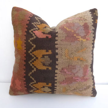 Brown Rustic Kilim Pillow cover