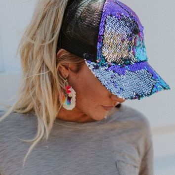 Mermaid Sequin Messy Bun Baseball Hat - Rainbow