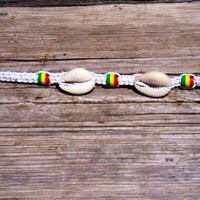 Men's Rasta and Cowrie Shell Hemp Bracelet