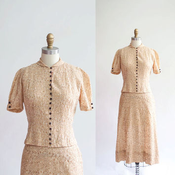 Vintage 1930s Embroidered Dress Set / Neutral by GingerRootVintage