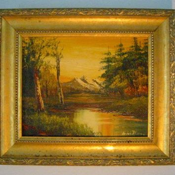 View of Mountain River Trees Oil On Panel Signed By Artist
