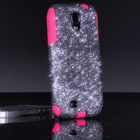 Galaxy S4 Otterbox Case, Otterbox Samsung Galaxy S4 Case Custom Glitter Smoke/Pink, Sparkly Sparkles Pink S4 Case