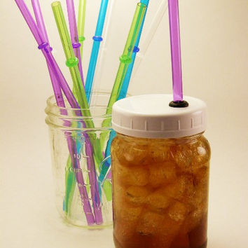 Reusable ToGo Cup Small Mouth Ball Mason Jar Lid With Color Straw Ecofriendly - Single