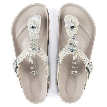 Birkenstock Gizeh Lux Leather Spotted Metallic Silver Sandals