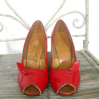 Vintage Peep Toe Shoes / red high heels / 50s pumps / stilettos / red pumps / Ruccelli / pin up shoes / 5.5