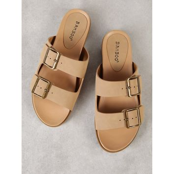 Double Buckle Strap Slide Sandal