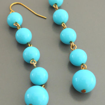 Vintage Earrings - Turquoise Earrings - Chain Earrings - handmade jewelry