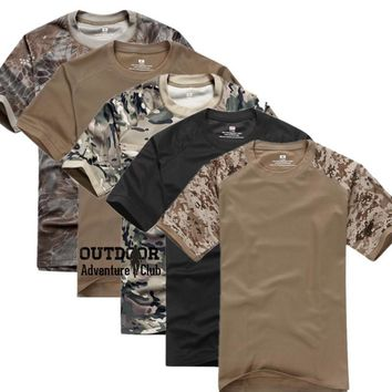 Summer Coolmax Tactical Camouflage T Shirt Men Breathable Quick Dry US Army Combat T-Shirt Camo O Neck Military Tshirt Velcro