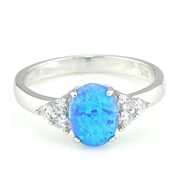 Lab Created Blue or Pink Fire Opal Rhodium Plated Sterling Silver Engagement Ring