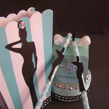Bridal, Baby Shower, Birthday Breakfast At Tiffany's Audrey Hepburn Centerpiece Decor Mini Cake, Tea Party, Elegant Weddings, Custom Party