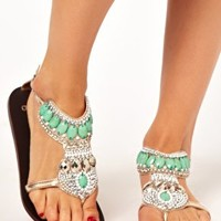 ASOS FELICITY Embellished Flat Sandals at asos.com