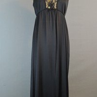 1970s Kayser Black Nylon Nightgown with Lace Trim, 36 bust