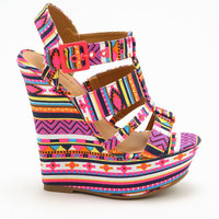 PINK TRIBAL PATTERN WEDGES