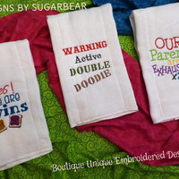 Burp Cloths for TWINS ADoRABLe & FuN Sayings for TWiN Babies and their Parents too! Boutique Unique Embroidered CUSTOM Designs by Sugarbear