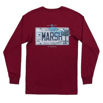 Long Sleeve South Carolina Backroads Collection Tee in Maroon by Southern Marsh