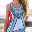Seven Wonders Of The World Tribal Print Racer Back Tank