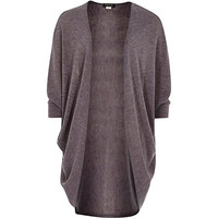 River Island Girls grey draped 3/4 length sleeve cardigan