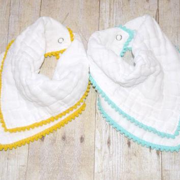 baby bandana bib, white cotton, pom pom, cotton gauze, muslin baby, scarf bib, burp rag, burp cloth, quilted baby, shower gift, twins gift
