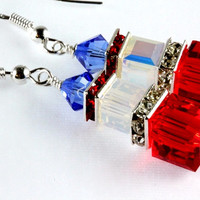 Swarovski Red, White, and Blue Earrings, Patriotic, Crystal Cubes, Sterling Silver