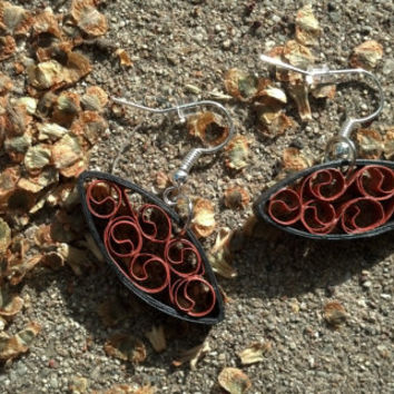 Paper Quilled Earrings Almond Shape Filigree - Copper and Black - quilling paper earrings, quilling jewelry, paper earrings, eco friendly