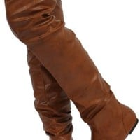 Tan Faux Leather Round Toe Slouchy Over The Knee Flat Boots Vickie HI TNPU,Vickie-Hi5.0 Tan Pu 7.5