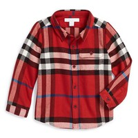 Infant Boy's Burberry Check Flannel Woven Sport Shirt