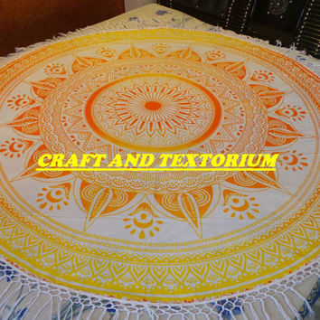 Beach Throw, Ombre Throw, Roundie, Mandala Tapestry, Bedspread, Hippie Tapestry, Wall Hanging, Home Decorative, Picnic Blanket, Wholesale
