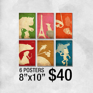 "8""x10"" Pixar Vintage Minimalist Poster Set - Monsters Inc, Toy Story, Finding Nemo, Wall-E, Brave and Ratatouille - 6 Posters for 40 Dollars"