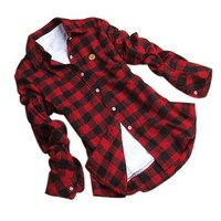 Juanshi Women's Check Flannel Shirt Color Red & Black Size M