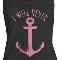 Women's Nautical Anchor Cotton Best Friend Tank Tops (I Will Never)