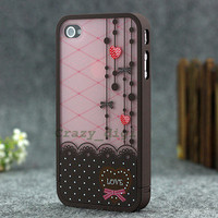 fashion cute Lacy  lovely 3 in 1 Hybrid Hard Cover Skin case for iPhone 4 4G 4S