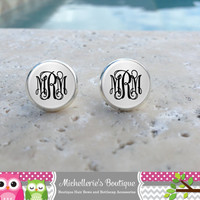 Silver Monogram Earrings, Monogram Jewelry, Monogram Accessories, Monogram Studs, Monogram Leverbacks, Monogrammed Gifts under 10, Black