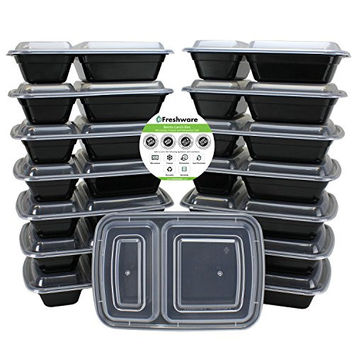 Freshware 15-Pack 2 Compartment Bento Lunch Boxes with Lids - Stackable, Reusable, Microwave, Dishwasher & Freezer Safe - Meal Prep, Portion Control, 21 Day Fix & Food Storage Containers (25oz)